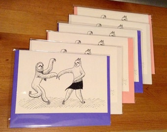 Swing Dancing Sloths Couple Boxed Card Set - 6 Cards