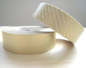 Japanese Washi Masking Tapes / Beautiful Gold Solid and Stripes for Weddings, Parties and Holidays (15m Long, 50 percent more)