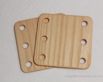 Tablet weaving cards 24 Ash 6*6cm - 6 holes. Card weaving. Ancient medieval viking art weaving loom craft work SCA