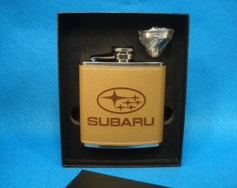 SUBARU Leather Flask and Funnel Gift Set - Great gift for a Subaru Owner! Subaru Legacy, Subaru Forrester, Outback
