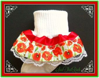 Poppy Triple ruffle girls socks -custom colors for satin ribbon -  made to match her outfit or dress - boutique outfit - paegent socks