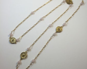 Matte gold and rose quartz necklace