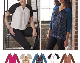 Raglan Sleeve Top Pattern, Button Front Top Pattern, Pullover Tunic Top Pattern, Simplicity Sewing Pattern 8170