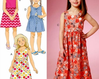 Girls' Sundress Pattern, Little Girls' Sunsuit Pattern, Girls' Short Culottes Pattern, Butterick Sewing Pattern 6202