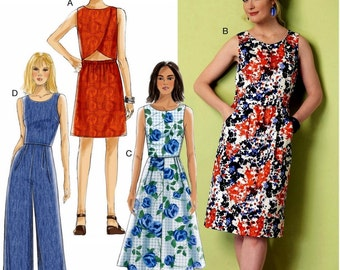 Jumpsuit Pattern, Crossover Back Dress Pattern,  Butterick Sewing Pattern 6351