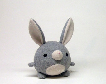 Cute Plush Toy Animal, Bunny Rabbit Plushie, Light Heather Grey Bunny by Stuffed Silly