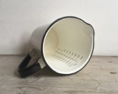 Pitcher, Vintage Graniteware Enamel 32oz Calibrated Measuring Cup White Black