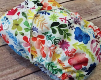 one size pocket diaper | one size diaper | swim diaper | Cloth diaper | watercolor | baby gift | eco friendly | floral | girl diaper