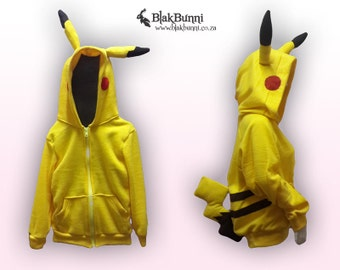 MADE TO ORDER Children's Pikachu inspired hoodie with pokemon tail