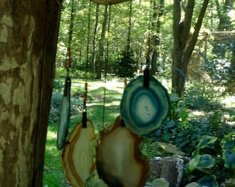 Geode Wind Chime on Driftwood.   #78