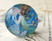Luna, the Tidal Mermaid and Her Moon Pearl, mermaid cabochon, female ferility, handmade glass cabochon, round 22mm cabochon, flat back image