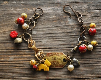 Westie Scottie Dog Tag Charm Bracelet in Yellow, Red and Pearl - Vintage Assemblage