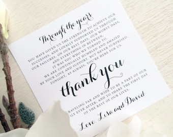 Printed Wedding Reception Thank You Card | Wedding Thank You Card | Thank You Card | Thank You PRINTED - Style TY92 - EMILY COLLECTION