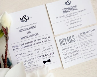 Printable Wedding Invitation Suite -Style INV53 - Tuxedo COLLECTION | Invitation | RSVP Card | Details Card