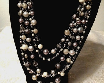 Shades of Grey Multi Strand Necklace, 5 Strands Necklace, Acrylic Pearls and Glass Crystals, Filigree Beads, VisionsOfOlde