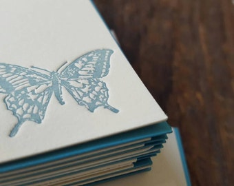 letterpress, butterfly card, butterfly stationery, butterfly flatcard, card set, butterfly card set, free shipping, spring card