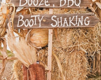 Wedding Sign on Stake Rustic Western Bridal Directional Reception Dancing Party
