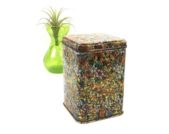 vintage 60s 70's millefiori multicolored tin storage container square litho repousse can canister home decor decorative gold flowers floral