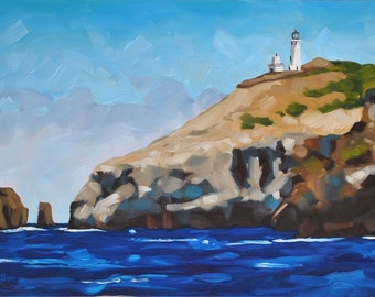 California Art Oil Painting -  12x16 - Anacapa Lighthouse by Sharon Schock