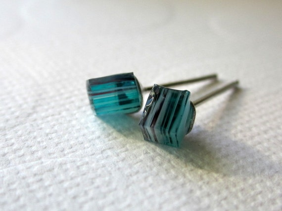 Blue Cube Earrings Cube Stud Earrings Rough Cut Earrings Glass Cube Studs Stained Glass Nugget Earrings Hand Cut Earrings Tiny Cube Studs
