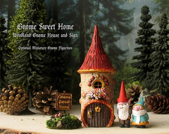Gnome Sweet Home - Handmade Miniature Fairy Garden Gnome House With or Without Mini Gnomes - Red Capped Round House with Flower Box and Sign
