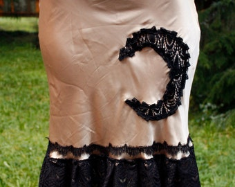 Moon Magic Gold Up-Cycled Slip Skirt with Black Lace Trim