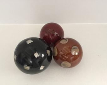 Set of 3 Vintage Decorative Balls