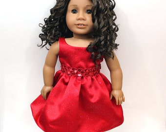 """Red Glitter & Sequin Party Dress for American Girl and other 18"""" Dolls"""