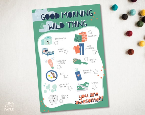 boy get ready morning chore chart checklist
