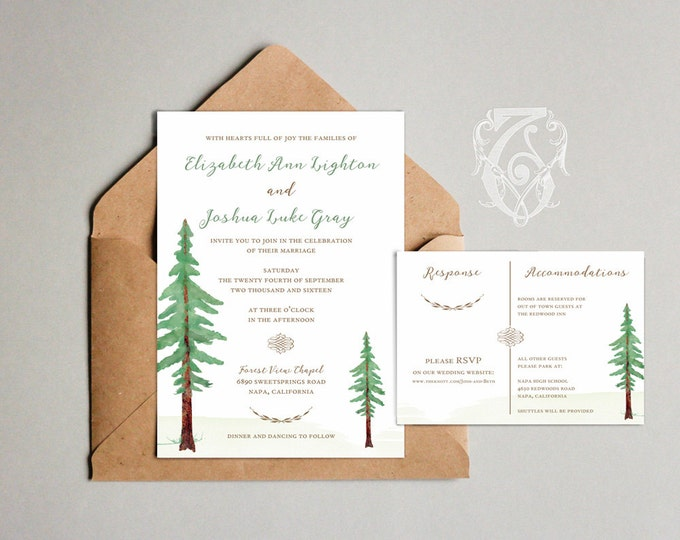 Wedding Invitation Template Redwood Watercolor Forest Editable PSD Download