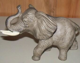 Vintage elephant figurine Animal ceramic figure Elephant with tusks