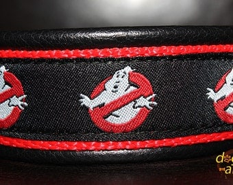 Handmade Easy Release Buckle Leather Dog Collar GHOSTBUSTER inspired by dogs-art in black/red/ghost