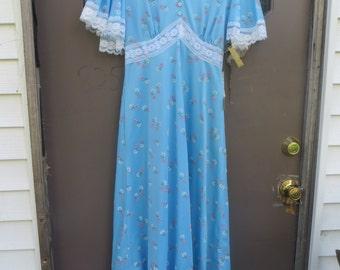 1970s   boho prairie maxi dress flower pots designs butterfly wings sleeve sz 12   new vintage   w tags