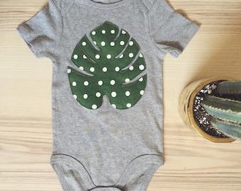 Dotted palm leaf felt applique toddler onesie bodysuit