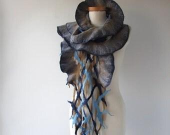 Nuno felted  scarf ruffle felt scarf Blue beige scarf  spring scarf navy blue scarf long shawl by Galafilc