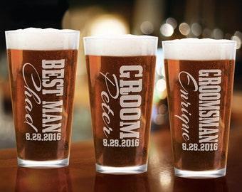 Groomsmen Gift Pint Glass 16 Oz Wedding Party Craft Pub Groom Groomsman Best Man Engraved Personalized Drinking Gift Favors Custom Beer Mug