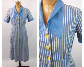 Late 30s Blue House Dress - Blue and Yellow Striped Dress - 30s Cotton Dress - 40s Cotton Dress