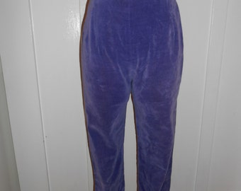 1950s 60s Vintage Purple Velvet  Capris