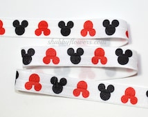 "5/8"" Printed Fold Over Elastic -RED and Black Mickey- Printed Elastic-Hair Accessories, Baby Headband Elastic, Headband Supplies"