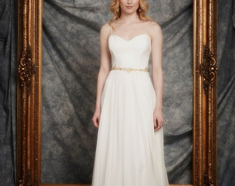 Kaitlin Gown, Sweetheart bodice, Plunging back, Chantilly lace, flowing Point d'esprit skirt