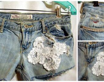 sz 1 Destination Wedding Bride Weekend Bridal Rhinestone Embrioriered Lace  upcycled Hollister denim jean frayed distresssed shorts