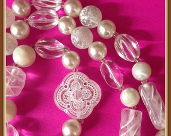 Vintage Long Pearl Necklace, Multi Shapes, Frosted Ice Beads, Single Strand, Seasonal,  1970's