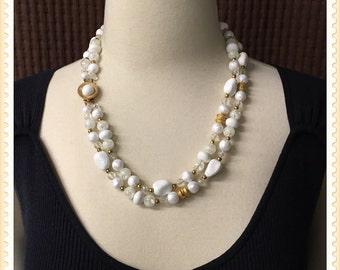 Vintage Coro White Beaded Necklace, Double Strand, Signed, Script, Pegasus, Rectangle, Multi Shape Beads, 1950's