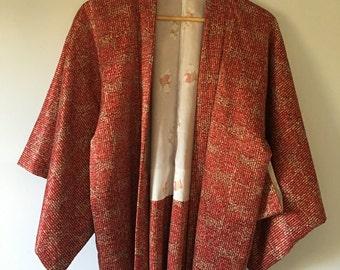 70s Vintage Japanese Silk Kimono • Silk Open Jacket Kimono