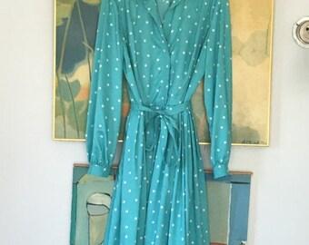 ON SALE vintage 60s Robins Egg Blue Dress • Polka Dot dress • 1960s Day Dress • I Magnin Dress • Rare Dress • Medium