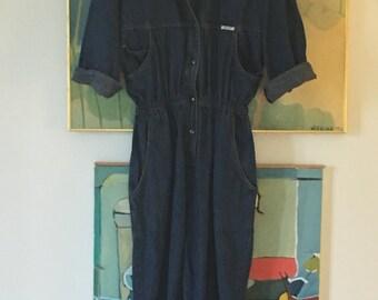 70s IDEAS Denim Cotton Jumpsuit • 70s Jumpsuit  • Unique Boho Jumpsuit • Hippie Chic • Denim • Pant Suit