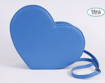 king blue faux leather heart bag