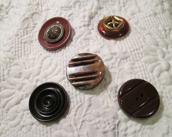 Singles Have More Fun...Five Special Bakelite Buttons...Fantastic Detail in Each...Each Substantial in Every Way!