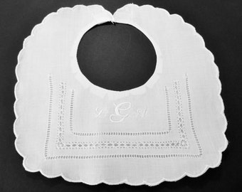 Christening Baptism Linen Bib with Embroidered Monogram Christening Bib Baptism Bib Baby Bib