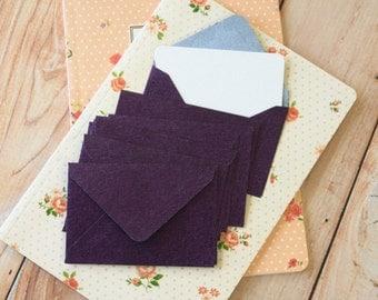 Violet Purple Textured Mini Envelopes & Chalk White Cards 10pc set